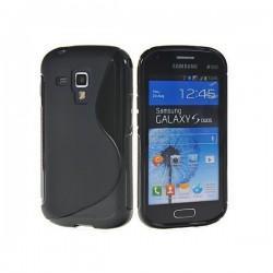 Silikon etui za Samsung Galaxy S Duos, Galaxy Trend +Folija ekrana , Črna barva