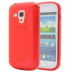 Silikon etui za Samsung Galaxy S Duos, Galaxy Trend +Folija ekrana , Rdeča barva