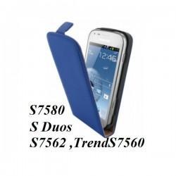 Torbica za Samsung Galaxy S Duos, Galaxy Trend, Preklopna ,Modra barva +folija ekrana