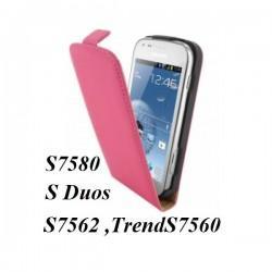 Torbica za Samsung Galaxy S Duos, Galaxy Trend, Preklopna ,Pink/Svetla barva +folija ekrana
