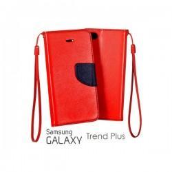 Preklopna Torbica Fancy za Samsung Galaxy S Duos, Galaxy Trend, Rdeča barva