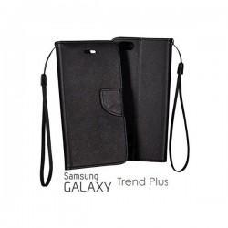Preklopna Torbica Fancy za Samsung Galaxy S Duos, Galaxy Trend, Črna barva