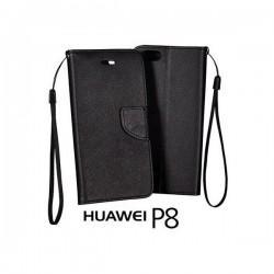 Preklopna Torbica Fancy za Huawei Ascend P8, Črna barva