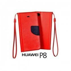 Preklopna Torbica Fancy za Huawei Ascend P8, Rdeča barva