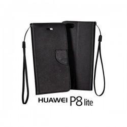 Preklopna Torbica Fancy za Huawei Ascend P8 Lite, Črna barva
