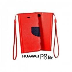 Preklopna Torbica Fancy za Huawei Ascend P8 Lite, Rdeča barva