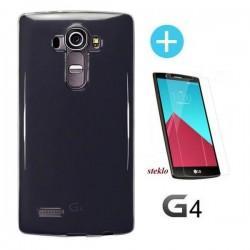 Silikon etui za LG G4, Temno prosojna barva +Zaščitno steklo