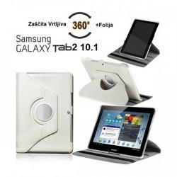 Torbica za Samsung Galaxy TAB 2 10.1 (P5100,P5110) Vrtljiva 360 Book Cover ,Bela barva