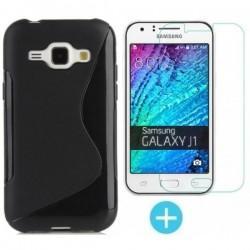 Silikonski etui za Samsung Galaxy J1, Črna barva +Zaščitno steklo