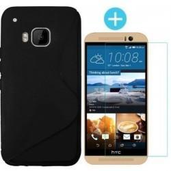 Silikonski etui za HTC One M9, Črna barva +Zaščitno steklo