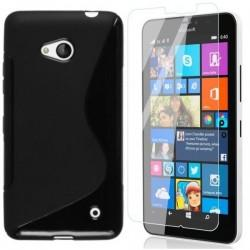 Silikonski etui za Microsoft Lumia 640 LTE, Črna barva +Zaščitno steklo
