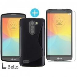 Silikonski etui za LG L Bello, Črna barva +Zaščitno steklo
