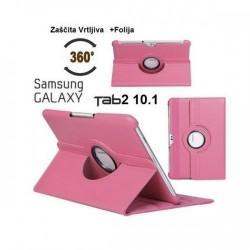 Torbica za Samsung Galaxy TAB 2 10.1 (P5100,P5110) Vrtljiva 360 Book Cover ,Pink barva