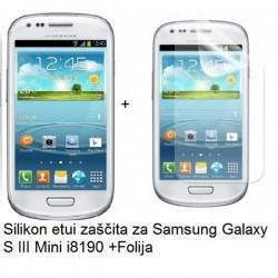 Silikon etui Jekod za Samsung Galaxy S3 Mini +Folija, bela mat barva