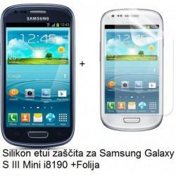 Silikon etui Jekod za Samsung Galaxy S3 Mini +Folija, temna barva