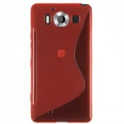 Silikon etui S za Microsoft Lumia 950 +zaščitna folija zaslona, Rdeča barva