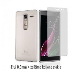 Silikonski etui 0,3mm za LG Zero, Prozoren+ Zaščitno steklo