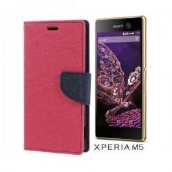 "Preklopna Torbica ""Fancy"" za Sony Xperia M5, Pink barva"
