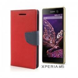 "Preklopna Torbica ""Fancy"" za Sony Xperia M5, Rdeča barva"
