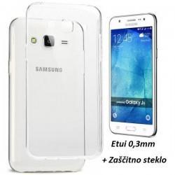 Silikonski etui 0,3mm za Samsung Galaxy J5, Prozoren+ Zaščitno steklo