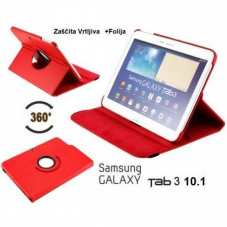 Torbica za Samsung Galaxy TAB 3 10.1 (P5200,P5210) Vrtljiva 360 Book Cover , Rdeča barva