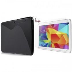Silikon Etui za Samsung Galaxy Tab 4 10.1 + Zaščitna Folija ekrana, črna barva