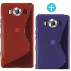 2 x silikonski etui za Microsoft Lumia 950, Vijola in Rdeča barva