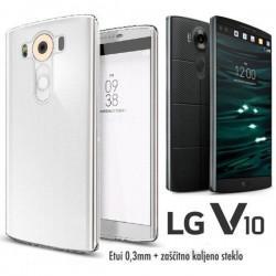 Silikonski etui 0,3mm za LG V10, Prozoren+ Zaščitno steklo