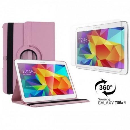 Torbica za Samsung Galaxy TAB 4 10.1 Vrtljiva 360+Folija ekrana , Pink barva