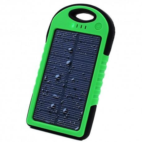 Prenosna Zunanja Baterija 6000 mAh -solarna,  Zelena barva