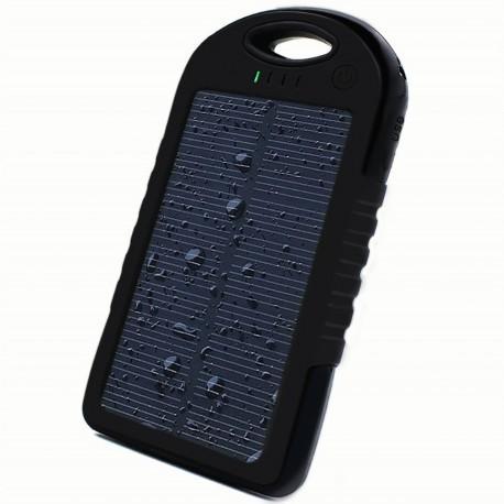Prenosna Zunanja Baterija 6000 mAh -solarna,  Črna barva
