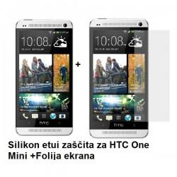 Silikon etui za HTC One Mini +Folija ekrana, bela mat