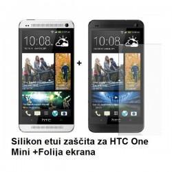 Silikon etui za HTC One Mini +Folija ekrana, prosojno temna