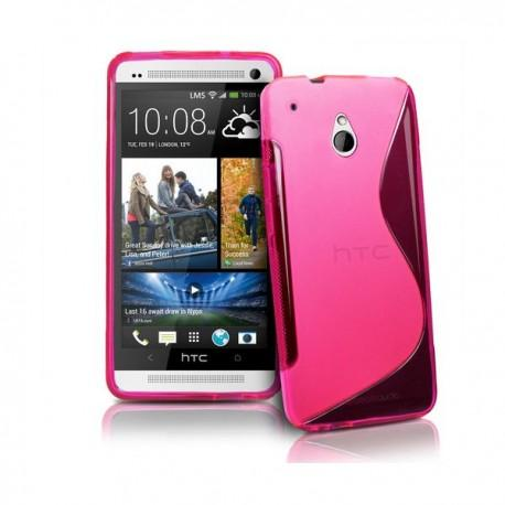 Silikon etui za HTC One Mini +Folija Gratis , Pink barva