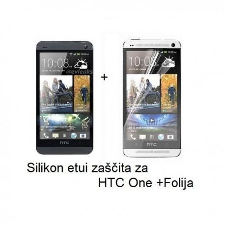 Silikon etui za HTC One +Folija, prosojno temen