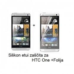 Silikon etui za HTC One +Folija, prosojno bela