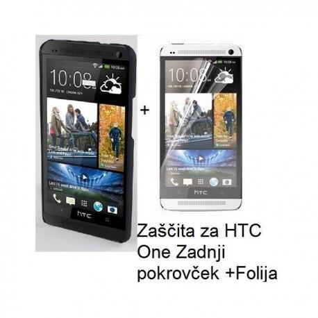 Etui za HTC One Zadnji pokrovček +Folija, črna barva