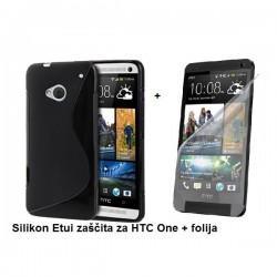 Silikon Etui za HTC One + folija, črna barva