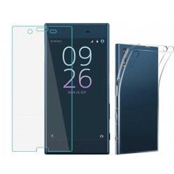 Silikonski etui za Sony Xperia E5, Prozoren+ zaščitno steklo