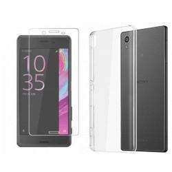 Silikonski etui za Sony Xperia XZ, Prozoren+ zaščitno steklo