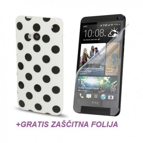 Silikon etui za HTC One +Folija Gratis , Bela barva DOT