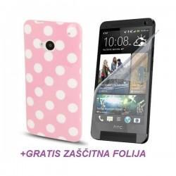 Silikon etui za HTC One +Folija Gratis , Pink barva DOT