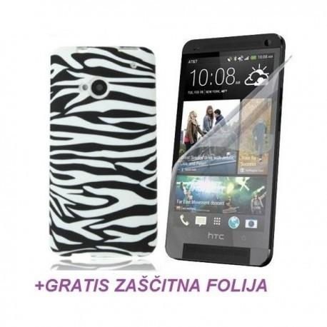 Silikon etui za HTC One +Folija Gratis , Bela barva Zebra
