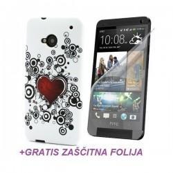 Silikon etui za HTC One +Folija Gratis , Bela barva Red Heart