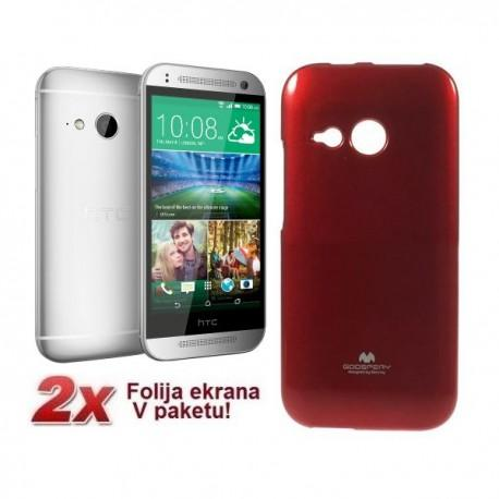 Silikon etui za HTC One M8 Mini + 2x Folija High-Quality , Rdeča barva