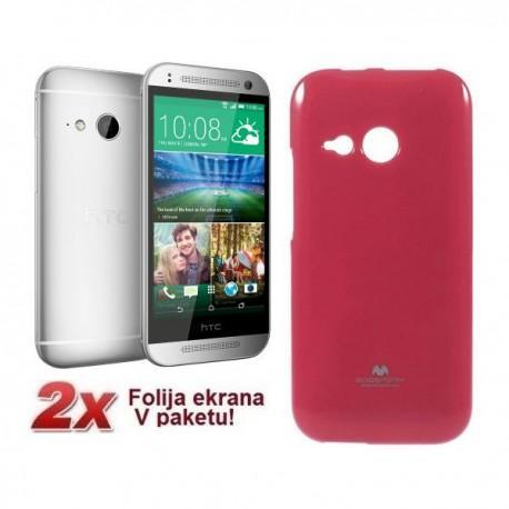Silikon etui za HTC One M8 Mini + 2x Folija High-Quality , Pink barva