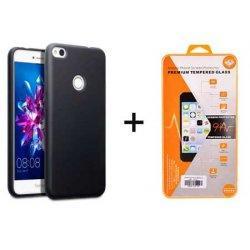Silikonski etui, črna barva+ zaščitno steklo - Huawei Honor 8 Lite