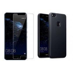 Silikonski etui, črna barva+ zaščitno steklo - Huawei P10 Lite