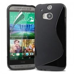 Silikon etui za HTC One M8 +Folija ekrana , Črna barva