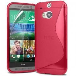 Silikon etui za HTC One M8 +Folija ekrana , Pink barva